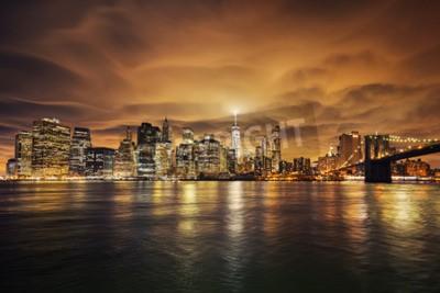 Fototapeta Manhattan na zachodzie słońca, New York City. Widok z Brooklynu