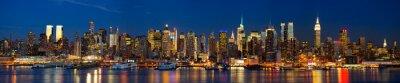 Fototapeta Manhattan skyline panorama w nocy, New York