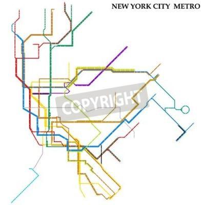 Fototapeta Map of the New York City metro, Subway, Template of city transportation scheme for underground road.