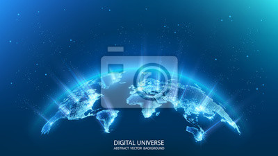 Fototapeta Map of the planet. Rays of energy.  World map. Global social network. Future. Vector. Blue futuristic background with planet Earth. Internet and technology. Floating blue plexus geometric background.