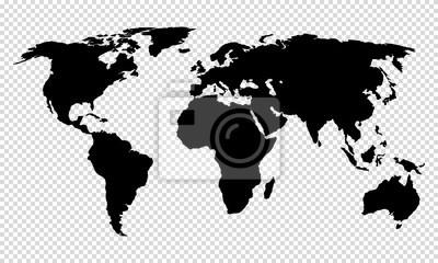 Fototapeta map of world on transparent background
