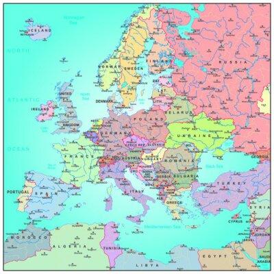 Fototapeta Mapa administracyjna Europy