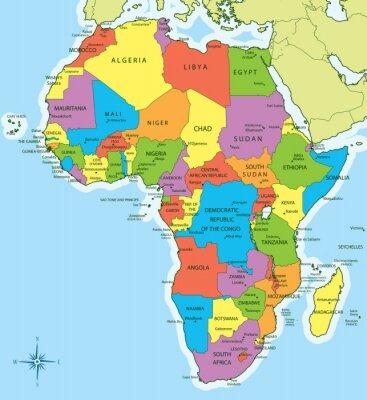 Fototapeta Mapa Afryki z krajami i miastami