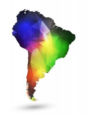 Fototapeta Mapa Ameryka Południowa z geometrycznych wzorów i kolorów tęczy