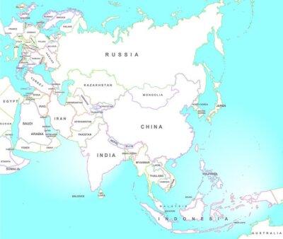 Fototapeta Mapa Azji w stylu vintage