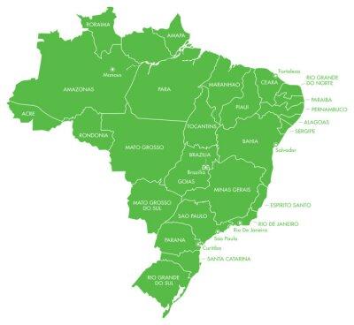 Fototapeta Mapa Brazylii z miast i państw