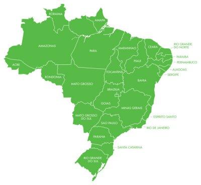 Fototapeta Mapa Brazylii z państwami