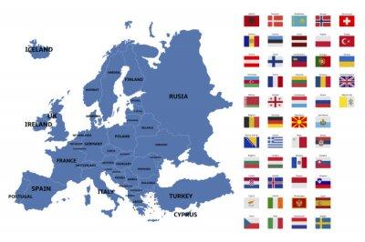 Fototapeta Mapa Europy i flagi