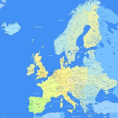 Fototapeta Mapa Europy kolor