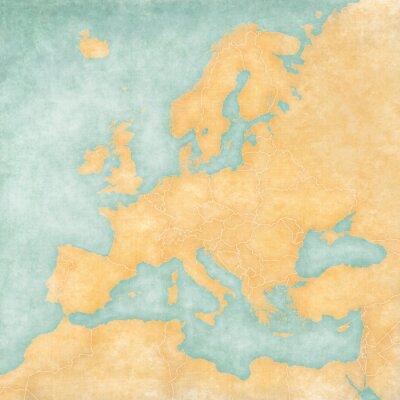 Fototapeta Mapa Europy - Pusta Mapa (Vintage Series)