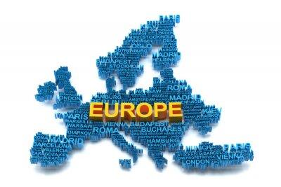 Fototapeta Mapa Europy tworzą nazwy dużych miast