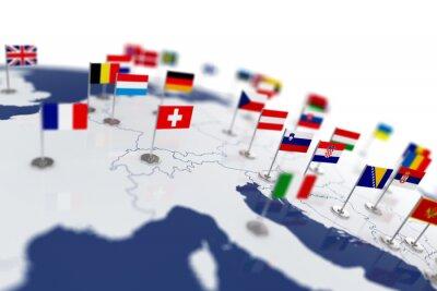 Fototapeta Mapa Europy z flagami krajów