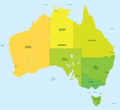 Fototapeta Mapa kolor Australii