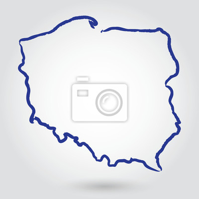 Fototapeta Mapa Konturowa Polski Polska Na Wymiar Tło Wektor