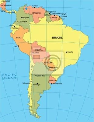 Fototapeta Mapa Polityczna Ameryki Poludniowej Na Wymiar Tlo