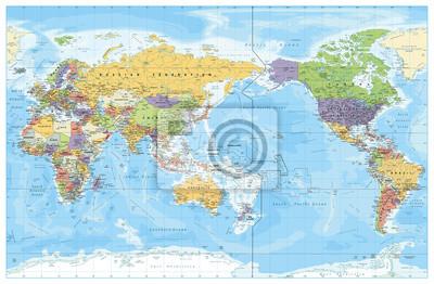 Fototapeta Mapa polityczna świata skoncentrowana na Pacyfiku. Kraje i stolice, miasta, granice i obiekty wodne, zarys stanu. Szczegółowa ilustracja wektorowa mapa świata.