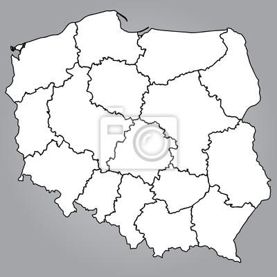 Fototapeta Mapa Polski Wojewodztwa Na Wymiar Wektor Kraj