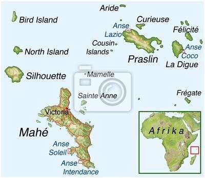 Fototapeta Mapa Seszele Na Wymiar Wakacje Karta Turystyka