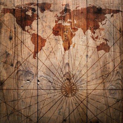 Mapa świata archiwalne deseń tła drewna. Elementy dostarczone przez NASA tego obrazu.