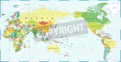 Fototapeta Mapa świata biały niebieski, Azja w wektor centrum.