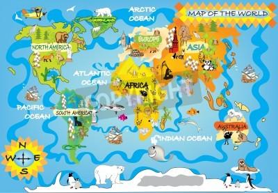 Fototapeta Mapa świata dla dzieci s
