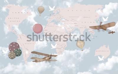 Fototapeta Mapa świata do tapet do pokoju dziecięcego