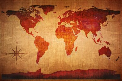 Fototapeta Mapa świata grunge stylu