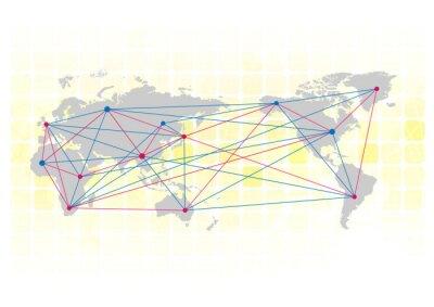 Fototapeta Mapa świata i kompas vertor