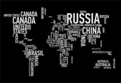 Fototapeta Mapa świata: kraje wordcloud