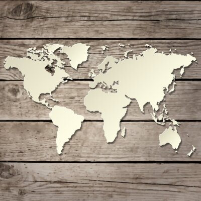 Fototapeta mapa świata papieru na drewnianym pokładzie wektora