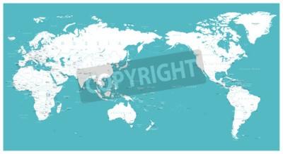 Fototapeta Mapa świata płaskie Azji w wektor centrum.