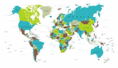 Fototapeta Mapa świata Polityczny Niebieski Zielony Szary Vector