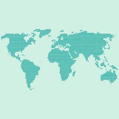 Fototapeta Mapa świata przerywana zielona