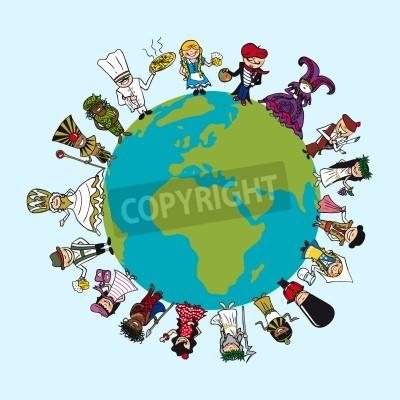 Fototapeta Mapa świata, różnorodność ludzi komiksy z charakterystycznym stroju koncepcji ilustracji.