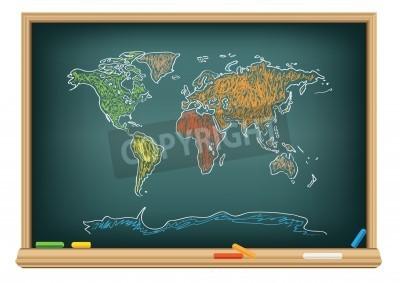 Fototapeta Mapa świata rysunku przez kredą na tablicy w klasie