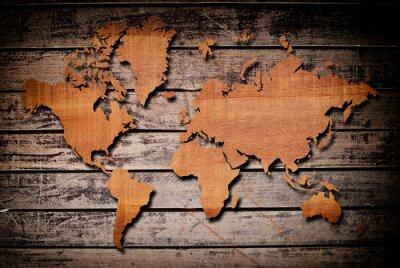 Fototapeta Mapa świata rzeźba plank drewna.