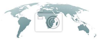 Fototapeta Mapa świata sferycznych zakrzywionych szarości