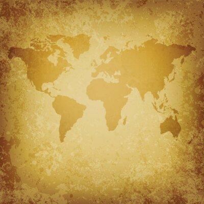 Fototapeta Mapa świata stary wektor pusty szablon