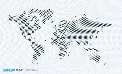 Fototapeta Mapa świata wektorowe z rundy, plamy, kropek dla szablonów biznesowych