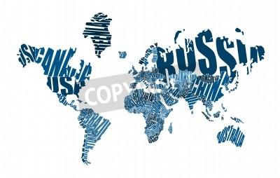 Fototapeta Mapa świata wykonane ?? si? Z nazwami krajów