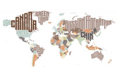 Fototapeta Mapa świata wykonane z nazw państw typograficznych