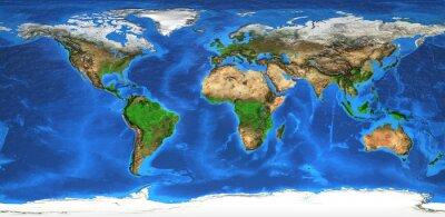 Fototapeta Mapa świata Wysoka rozdzielczość i landforms