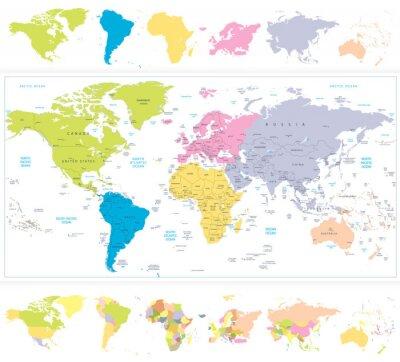Fototapeta Mapa świata z continnets w różnych kolorach na białym