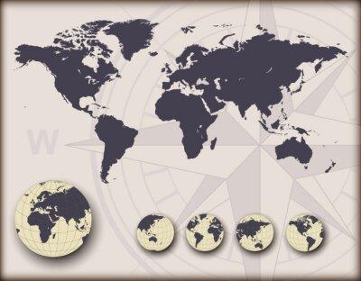 Fototapeta Mapa świata z globusy ziemi