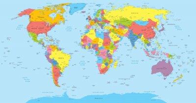 Fototapeta Mapa świata z krajów, w kraju i nazw miast