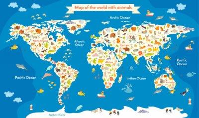 Fototapeta Mapa Świata ze zwierzętami. Piękne kolorowe ilustracje wektorowe z napisem oceanów i kontynentów. Przedszkole dla dziecka, dzieci, dzieci i wszystkich ludzi