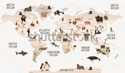 Fototapeta mapa świata zwierzęta na tapetę do pokoju dziecięcego