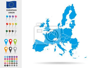 Fototapeta Mapa Unii Europejskiej