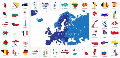 Fototapeta Mapy flagi krajów europejskich