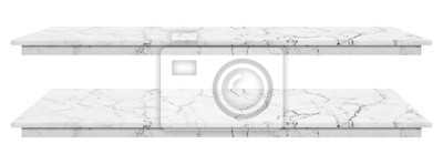 Fototapeta Marble table, counter top white surface, Stone slab for display products isolated on white background have clipping path